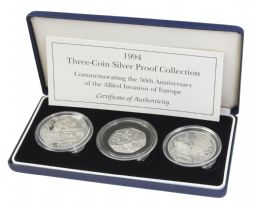1994 3 x Coin Allied Forces Silver Proof Collection